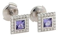 Tiffany & Co. ,Tiffany,Co.,Platinum,Iolite,And,Diamond,Square,Stud,Earrings