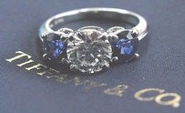 Tiffany Co Platinum Three Stone Diamond Sapphire Engagement Ring E-vs2 3.37ct
