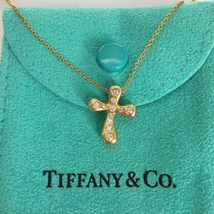 Tiffany & Co. Tiffany & Co. Elsa Peretti 18K Yellow Gold Diamond Cross Necklace BOX POUCH