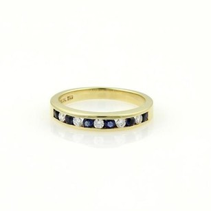 Tiffany & Co. Tiffany Co. 18k Yellow Gold Diamonds Sapphire Band Ring