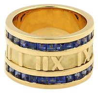 Tiffany & Co. Tiffany Co. Sapphires 18k Yellow Gold 12mm Atlas Numerical Band Ring-size 5.75