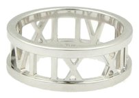 Tiffany & Co. Tiffany Co. 18k White Gold Open Atlas Roman Numeral Band Ring 7.75