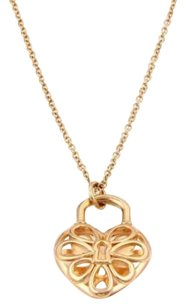 Tiffany & Co. Tiffany Co. 18kt Rose Gold Filigree Lock Heart Pendant Chain