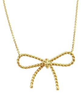 Tiffany & Co. Tiffany Co. Twisted Cable Wire 18k Yellow Gold Bow Pendant Necklace