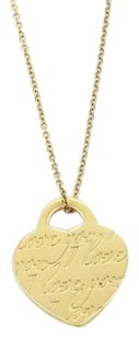Tiffany & Co. Tiffany Co. Notes I Love You Heart Tag Charm Necklace In 18k Yellow Gold