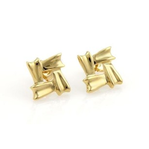 Tiffany & Co. Tiffany Co. 18k Yellow Gold Open Fancy Design Square Stud Earrings
