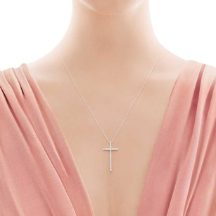 Tiffany & Co. TIFFANY & CO METRO DIAMOND 18K WHITE GOLD CROSS PENDANT NECKLACE