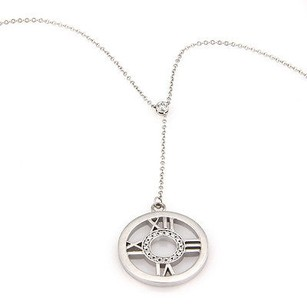 Tiffany & Co. Tiffany Co. 18k White Gold Diamond Circle Atlas Numerical Pendant Necklace
