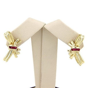 Tiffany & Co. Tiffany Co. 18k Yellow Gold 0.50ctw Ruby Bow Tie Designer Earrings W Box