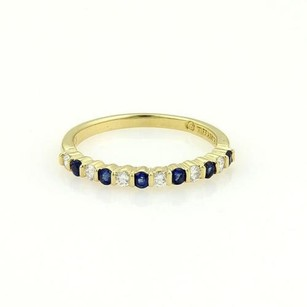 Tiffany & Co. Tiffany Co. 18k Yellow Gold Channel Set Diamonds Sapphire Band Ring