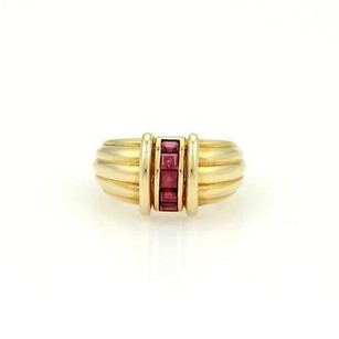 Tiffany & Co. Tiffany Co. 18k Yellow Gold Rubies Ribbed Style Band Ring