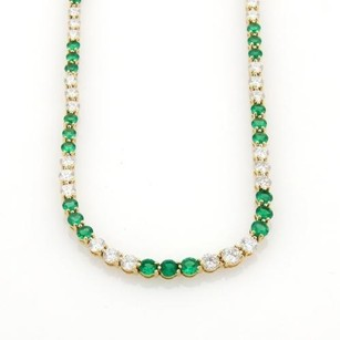 Tiffany & Co. Tiffany Co. 9.50ct Diamonds Emerald 18k Yellow Gold Graduated Tennis Necklace
