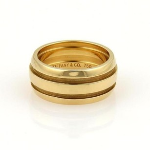 Tiffany & Co. Tiffany Co. Atlas 9mm Wide Grooved Dome Band Ring In 18k Yellow Gold