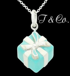 Tiffany & Co. Tiffany Co. Blue Box 925 Sterling Silver Blue Enamel Pendant 16 Chain N308