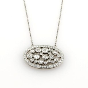 Tiffany & Co. Tiffany Co. Cobblestone Rose Cut Diamonds Platinum Oval Pendant Necklace