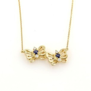 Tiffany & Co. Tiffany Co. Diamonds Sapphire 18k Yellow Gold Butterfly Pendant Necklace