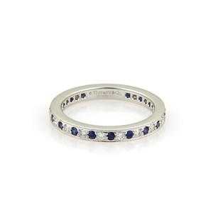 Tiffany & Co. Tiffany Co. Diamonds Sapphire Platinum Milgrain Eternity Band Ring 4.75