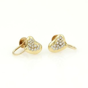 Tiffany & Co. Tiffany Co. Elsa Peretti 18k Yellow Gold Diamond Heart Bean Stud Earrings
