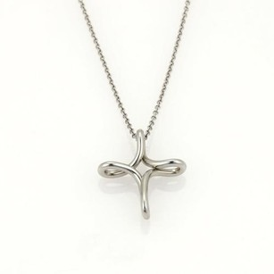 Tiffany & Co. Tiffany Co. Elsa Peretti Infinity Cross Platinum Pendant Chain Necklace
