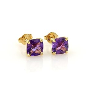 Tiffany & Co. Tiffany Co. Faceted Amethyst 18k Yellow Gold Stud Earrings