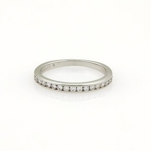 Tiffany & Co. Tiffany Co. Half Circle Diamonds Platinum 2mm Band Ring 4.75