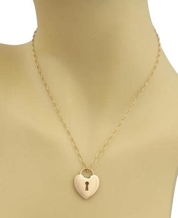Tiffany & Co. Tiffany Co. Heart Padlock 18k Rose Gold Pendant Chain Necklace