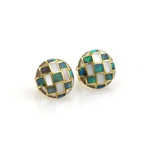 Tiffany & Co. Tiffany Co. Opal Mother Of Pearl Inlay 18k Yellow Gold Button Earrings