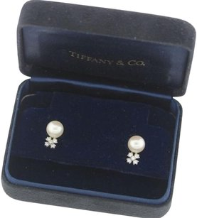 Tiffany & Co. Tiffany Co Platinum 8mm Akoya Pearl .10ctw Diamond Cluster Earrings Wbox