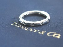 Tiffany & Co. Tiffany Co Platinum Bezet Diamond Band Ring .16ct