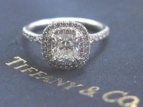 Tiffany & Co. Tiffany Co Platinum Cushion Cut Diamond Soleste Engagement Ring 1.34ct H-vvs1