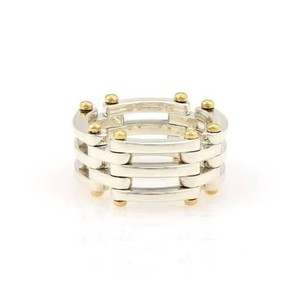 Tiffany & Co. Tiffany Co. Sterling Silver 18k Yellow Gold Gatelink 12mm Band -
