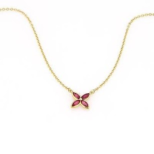 Tiffany & Co. Tiffany Co. Victoria Rubies 18kt Yellow Gold Floral Pendant Necklace