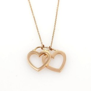 Tiffany & Co. Tiffany Co.18k Rose Gold Double Open Hearts Pendant Necklace