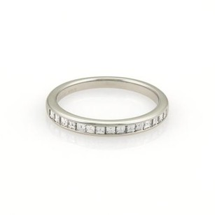Tiffany & Co. Tiffany Co.square Cut Diamonds Platinum Half Circle Wedding Band Ring