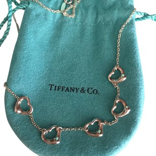 Tiffany & Co. Tiffany Elsa Peretti Silver 5 Open Heart Necklace BOX & POUCH!!