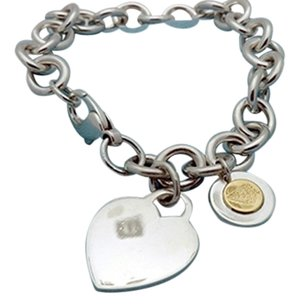 Tiffany & Co. Tiffany Heart & Round Charm Bracelet in Sterling Silver & Gold Charm 925, 6 3/4 in