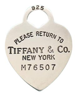 Tiffany & Co. Tiffany Silver Large # M76507 Heart Dog Tag Charm Pendant