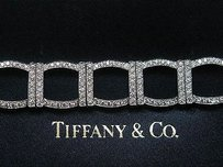 Tiffany & Co. Tiffany Co Platinum 324 Diamond Square Bracelet 6.00ct