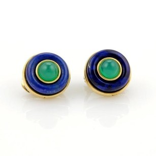 Tiffany & Co. Vintage Tiffany Co. Lapis Green Onyx 18k Yellow Gold Clip On Earrings