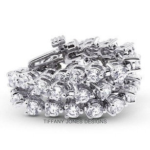 Tiffany Jones Designs 15 Ct Tw I-si2 Exc Round Natural Diamonds 18k 3-prong Womens Bracelet 21.15gr