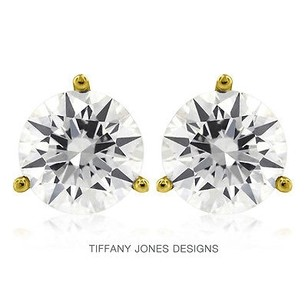 Tiffany Jones Designs 1.72ct Tw I-si3 Exc Round Natural Diamonds 14k 3-prong Solitaire Earrings 1.19gr