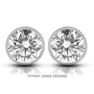 Tiffany Jones Designs 4.04ct Tw G-si2 Exc Round Natural Diamonds 14k Bezel Solitaire Earrings 1.99gr