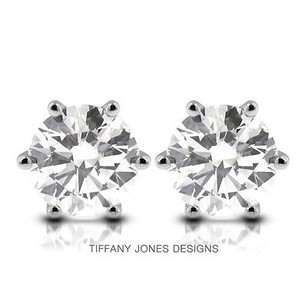 Tiffany Jones Designs 4.08ct Tw H-si1 Exc Round Natural Diamonds 14k 6-prong Solitaire Earrings 1.96gr