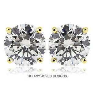 Tiffany Jones Designs 4.08ct Tw I-si1 V.good Round Natural Diamonds 14k 4-prong Solitaire Studs 1.71gr