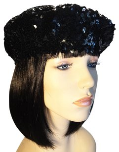 Tight Curves Black Metallic Sequined Beret [ HeavenlyHats ]