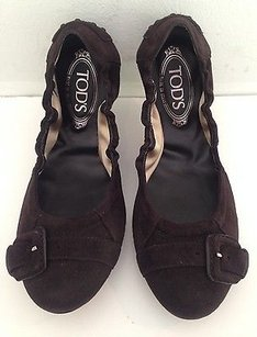 Tod's Suede Ballet Oxfords K Brown Flats