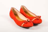 Tod's Tods Red Suede Leather Tassel Flats