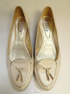 Tod's Tods Sparkle Metallic Gold Flats