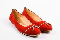 Tod's Tods Gold Suede Leather Red Flats