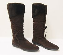 Tod's Tods Brown Suede Wrap Tie Boots
